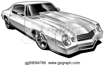 Clipart   Custom Modified Muscle Car  Stock Illustration Gg59094766