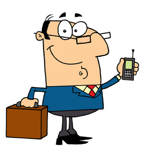 Clipart Image   Cartoon Businessman Or Lawyer On His Cell Phone