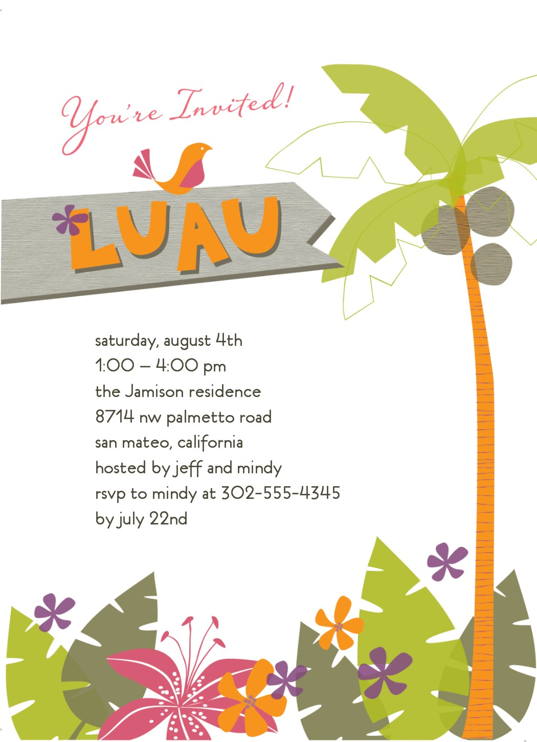 Luau Invitations Clipart Clipart Kid – Tropical Birthday Invitations