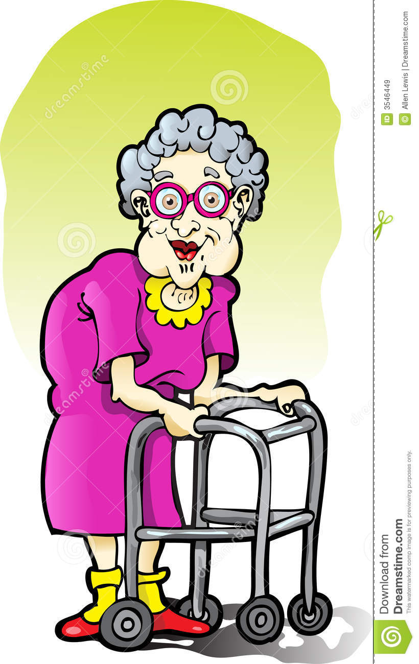 Elderly Woman With A Walker Royalty Free Stock Images   Image  3546449