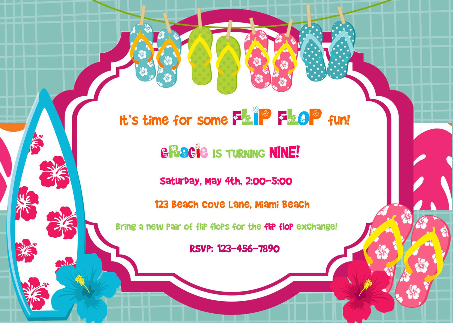 Flip Flop Summer Birthday Luau Invitation By Alohapartyprints
