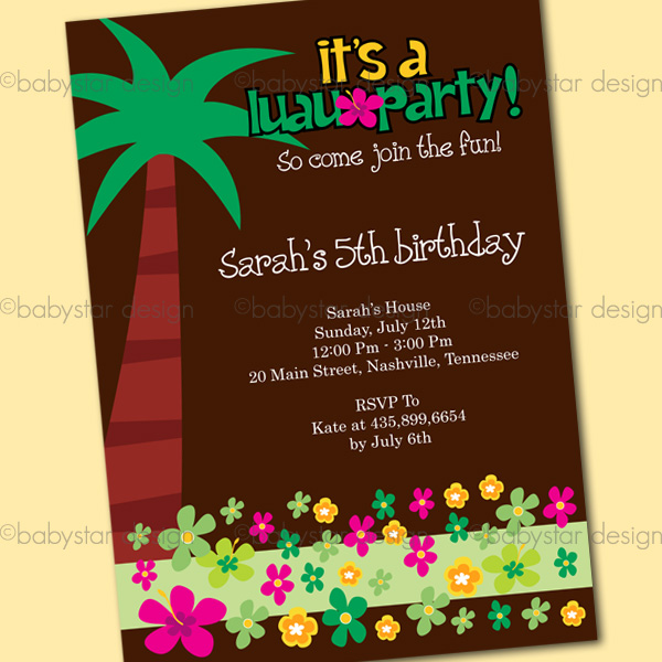 Home Invitation Single Luau Party Invite3