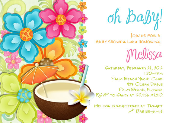 Luau Baby Shower Invitation Tropical Hawaiian Hula By 3peasprints