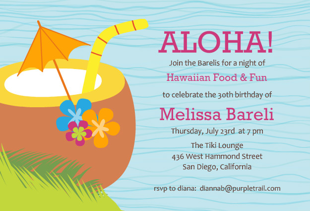 Luau Party Invitations Template   Best Template Collection