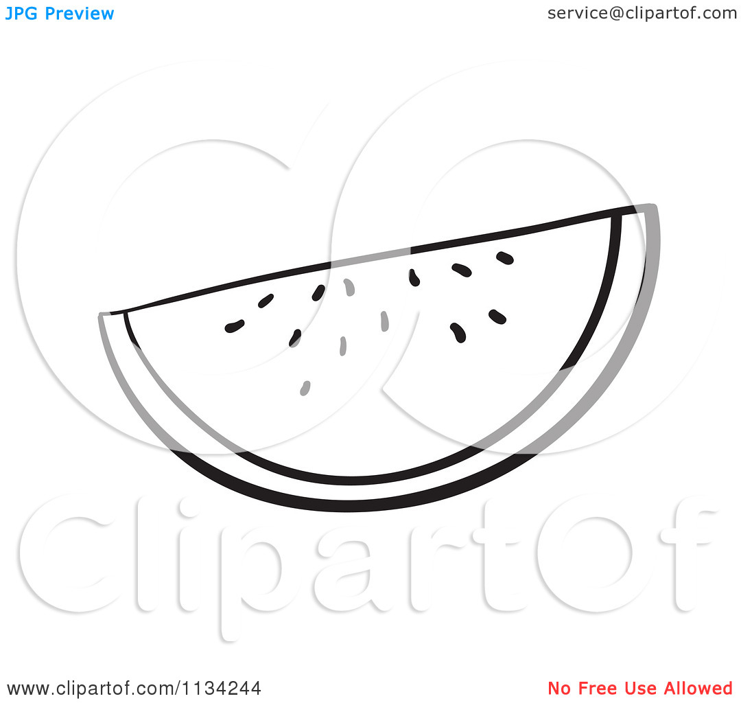 Of A Black And White Watermelon Slice   Royalty Free Vector Clipart