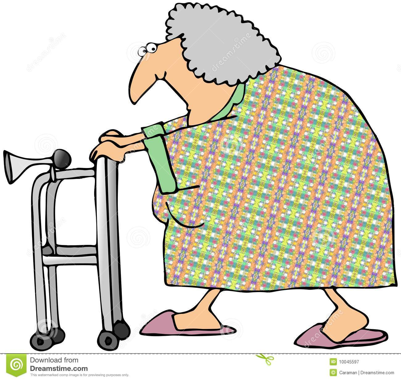 Old Woman With A Walker Royalty Free Stock Photography   Image