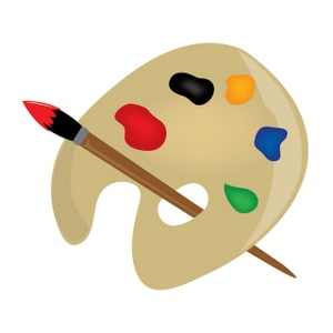 Painting Clipart Image   Paint Palette With A Paintbrush
