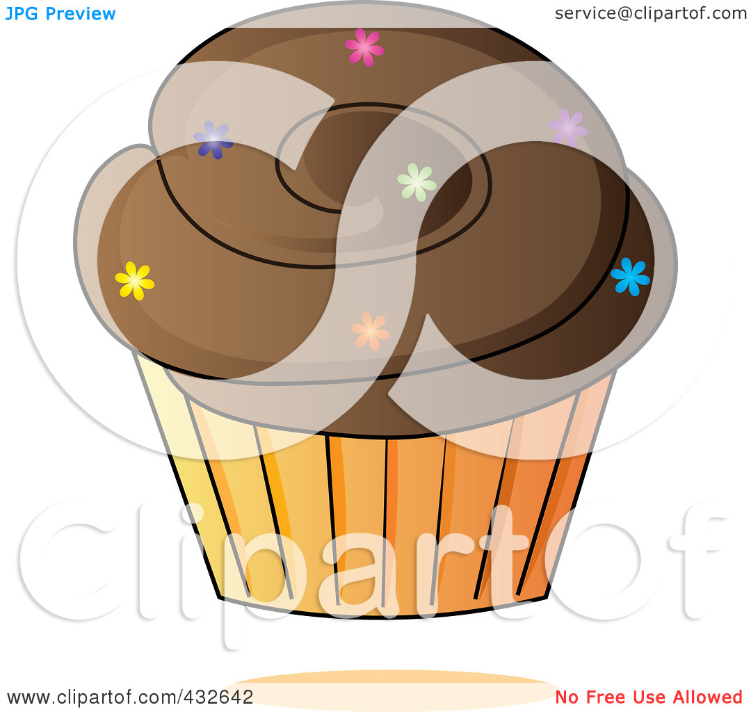 Royalty Free  Rf  Clipart Illustration Of A Chocolate Cupcake With