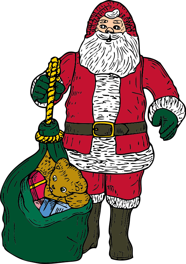 Santa And Bag Clipart Large Size