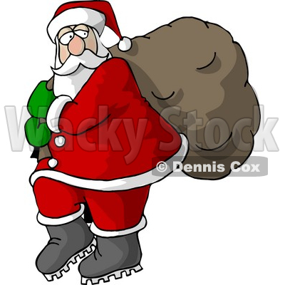 Santa Carrying Full Bag Of Christmas Presents Clipart   Dennis Cox