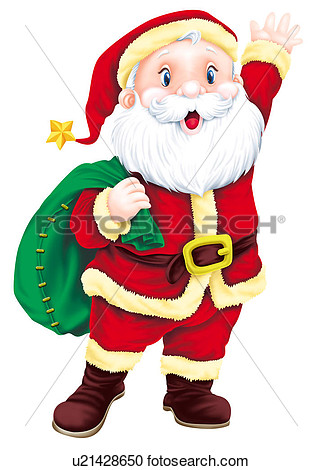 Santa Claus Holding A Bag View Large Clip Art Graphic