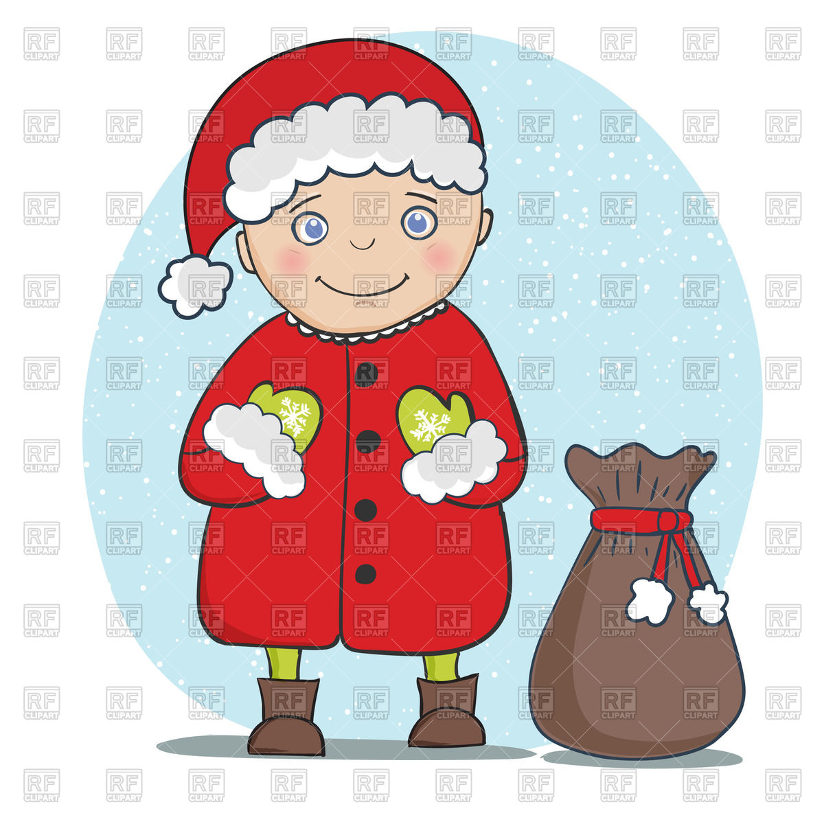 Santa Claus With Bag With Gifts Download Royalty Free Vector Clipart