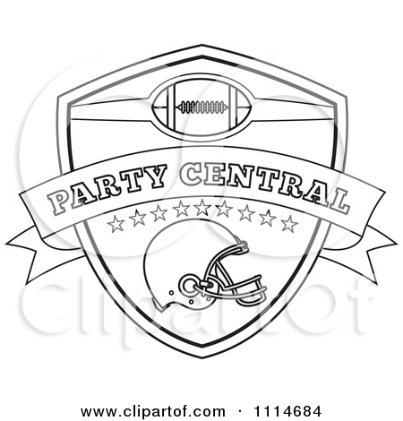 American Football Sports Helmet And Shield With Party Central Text