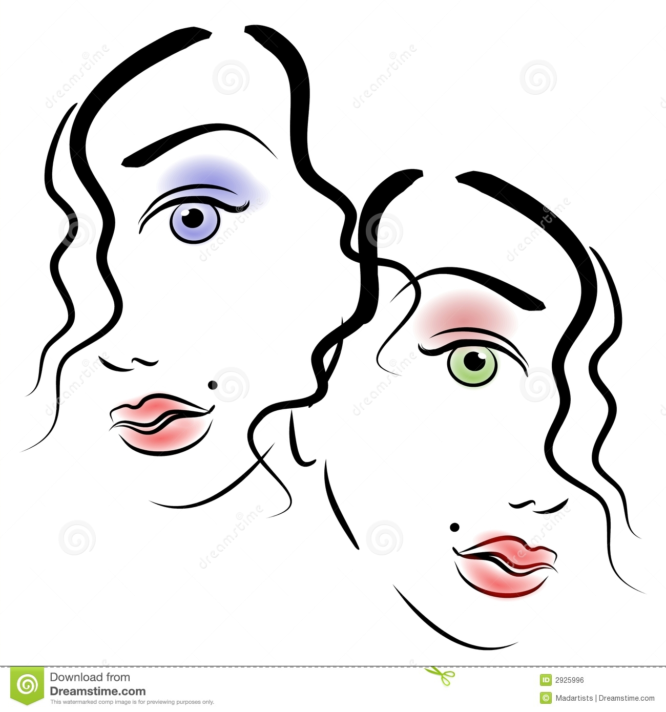 Art Portrait Of 2 Women S Faces In Black Outlines And Colored Eyes