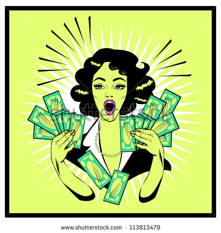 Clipart Illustration Of A Retro Woman Holding Handfulls Of Cash And