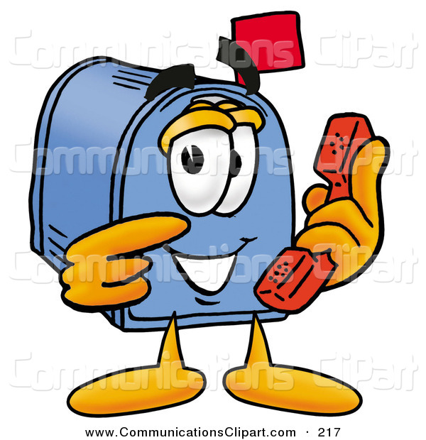 Communication Clipart Of A Cute Blue Postal Mailbox Cartoon Character