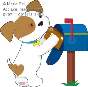 Cute Cartoon Puppy Getting His Mail Out Of The Mailbox In A Clip Art