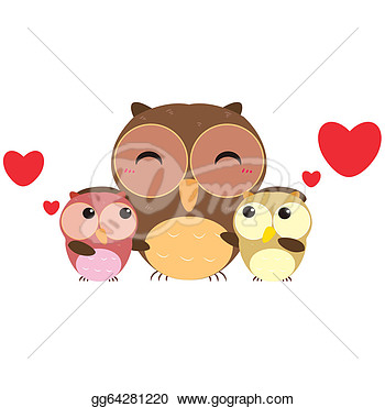 Illustration   Cute Cartoon Owl Family  Clipart Drawing Gg64281220
