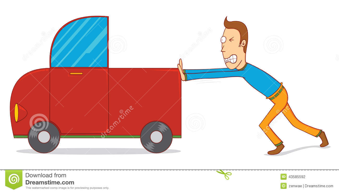 Illustration Of A Man Pushing A Car  Available In Vector Eps 10 File