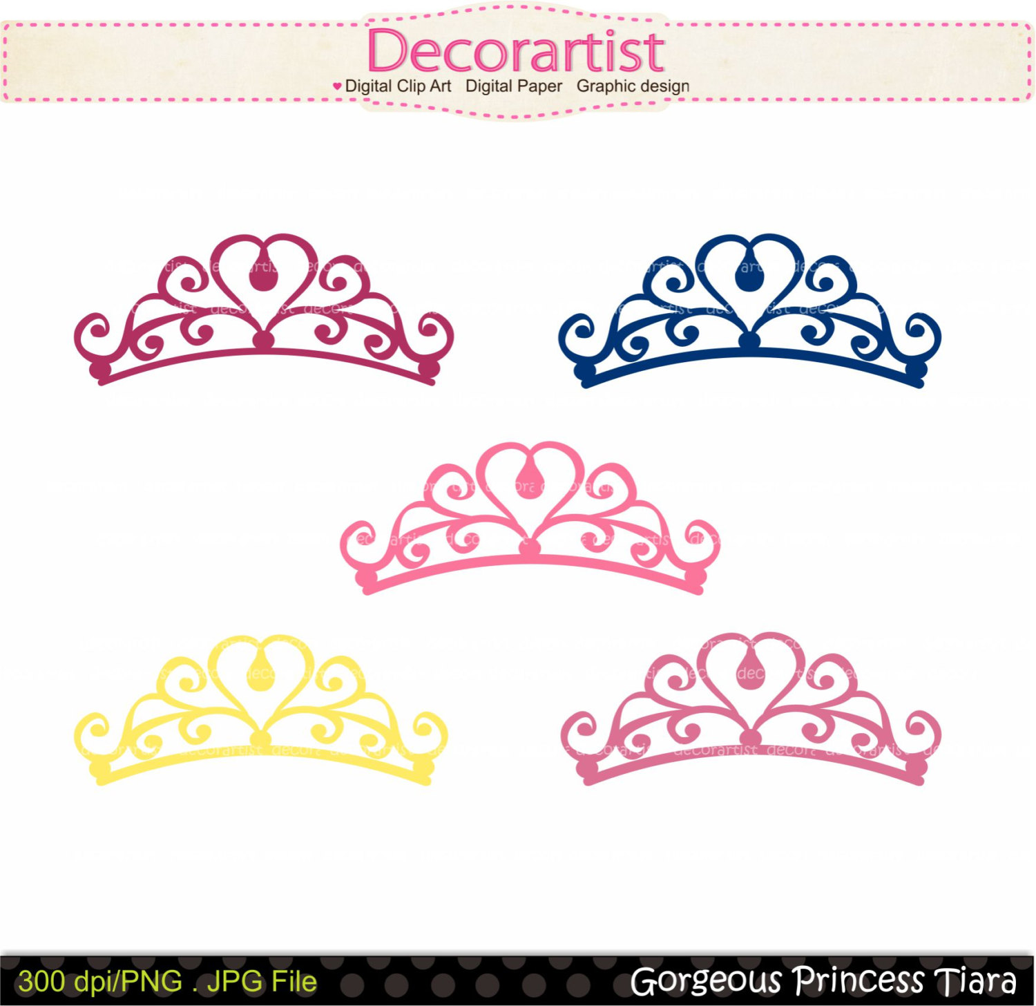 On Sale Princess Clip Art  Princess Tiara By Decorartistclipart