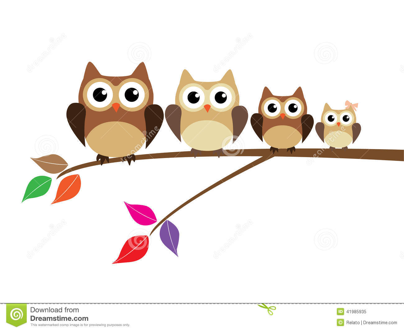 Owl Family Stock Vector   Image  41985935