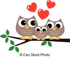 Owl Family Vector Clipart And Illustrations