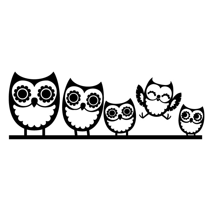 Owl Family Wall Decal   Cozy
