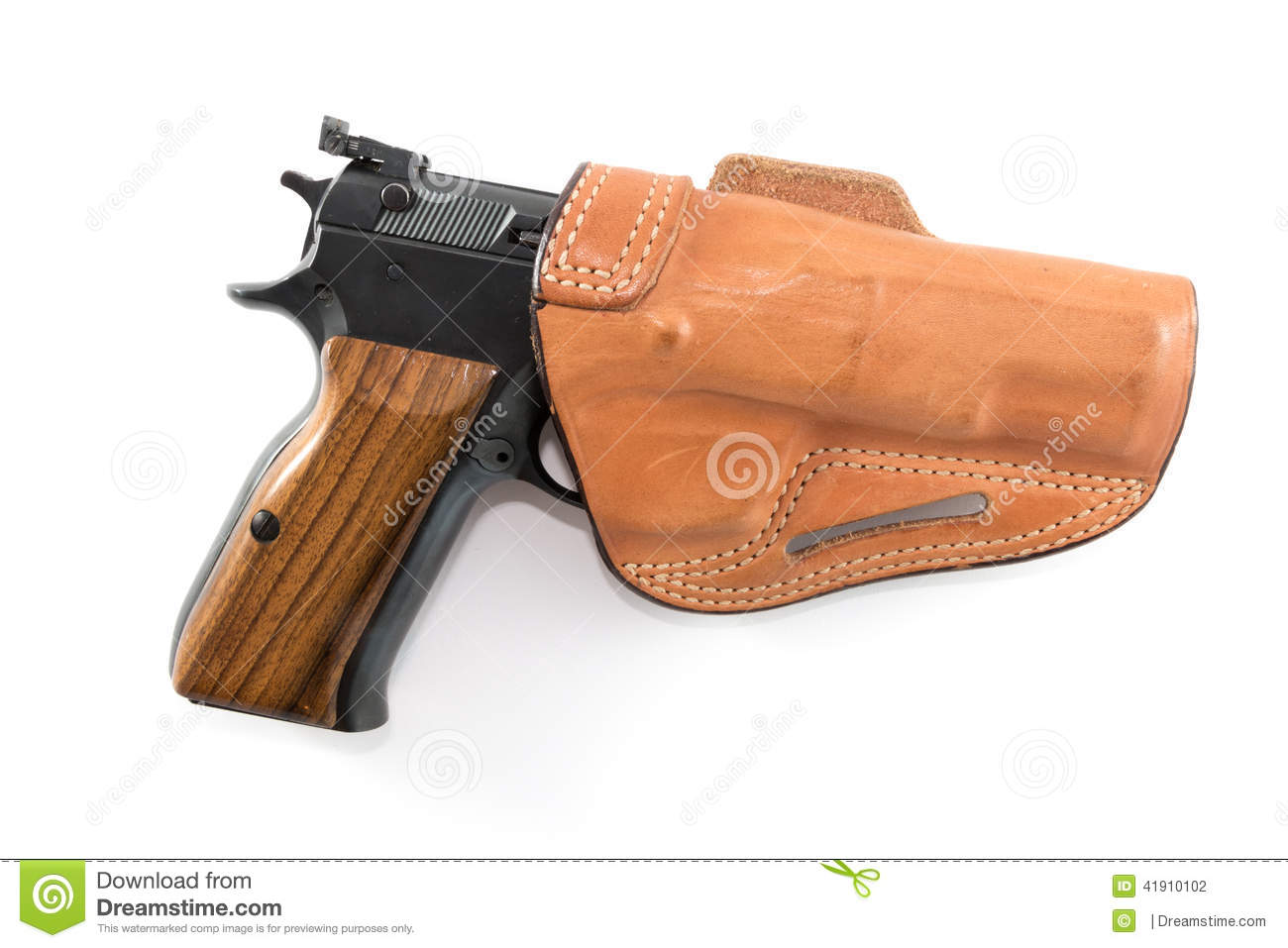 9mm Parabellum Pistol In Brown Leather Holster Stock Photo   Image