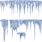 Blue Thawing Icicles Clip Art