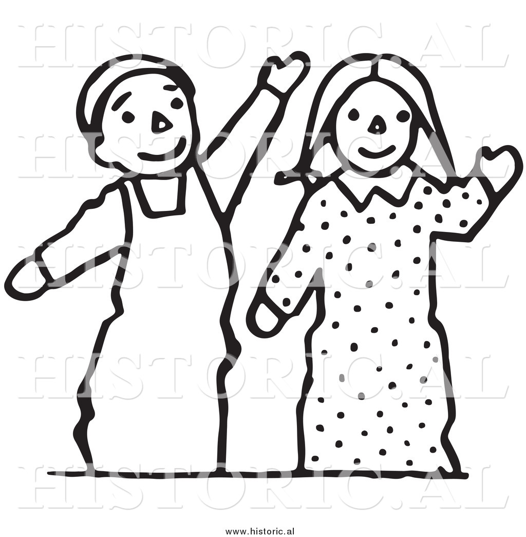 Clipart Of Waving Boy And Girl Puppets   Black And White Line Drawing