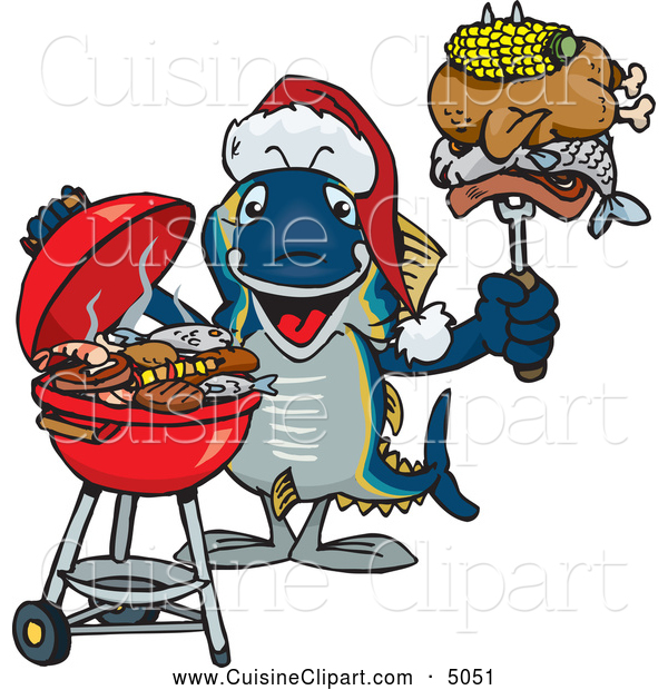Cuisine Clipart Of A Grilling Christmas Tuna Fish By Dennis Holmes