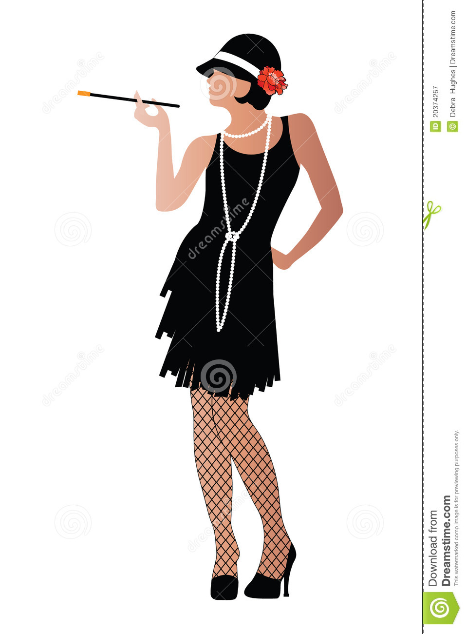 Flapper With Cigaratte And Fishnet Stockings Royalty Free Stock