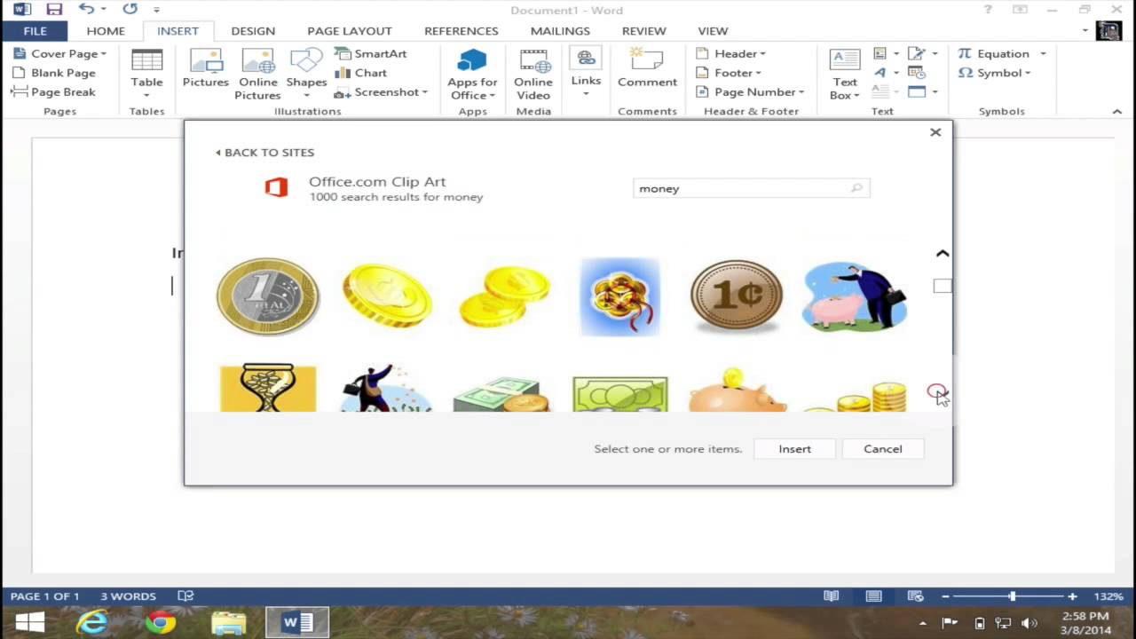 Insert Clip Art In Microsoft Word 2013   Youtube