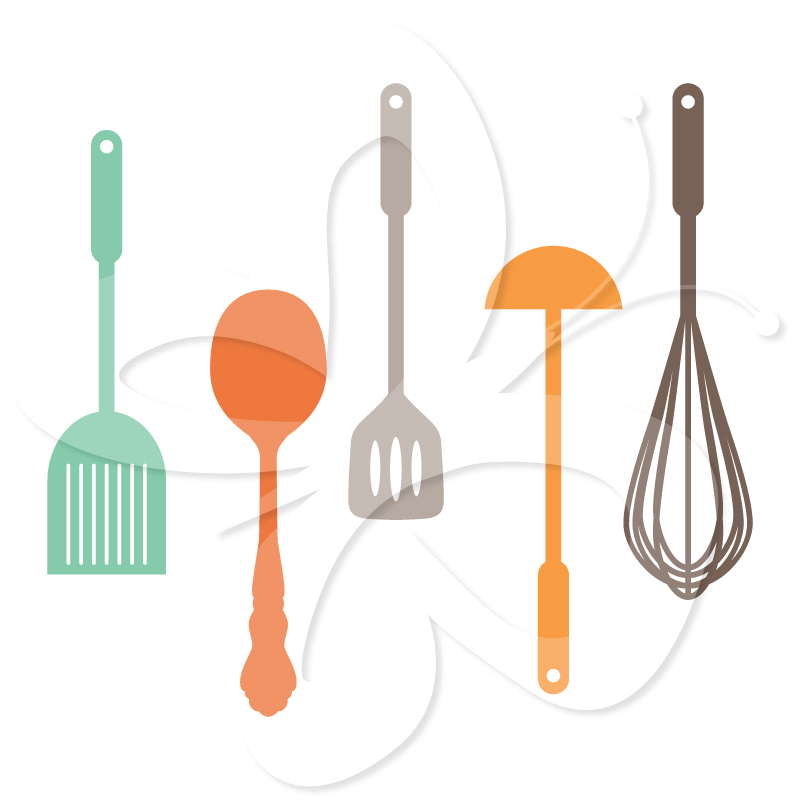 Kitchen Equipment Clip Art ~ Vintage cooking utensils clipart