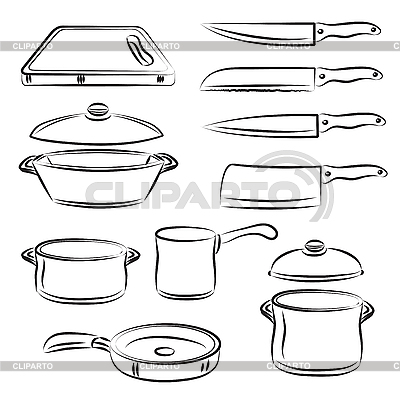 Kitchen Utensils Clipart Black And White Cooking Tools Clipart Black