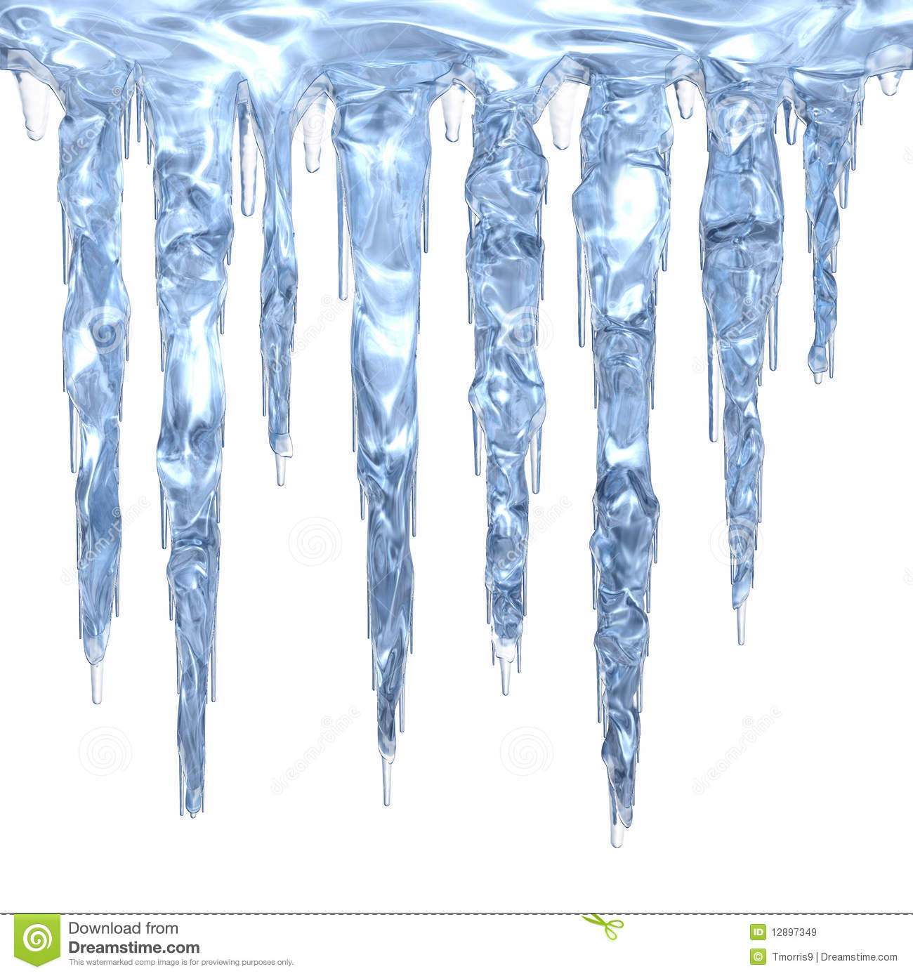Set Of Light Blue Clean Icicles Dripping Down  Isolated On White