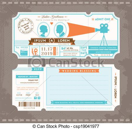 Vector   Movie Ticket Wedding Invitation Design Template   Stock