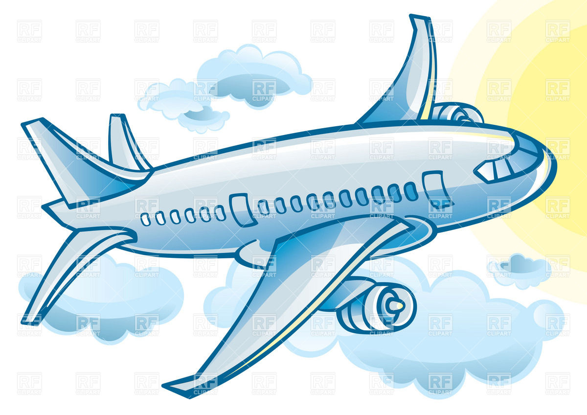 Airplane   Blue Cartoon Jetliner In Clouds 17085 Download Royalty