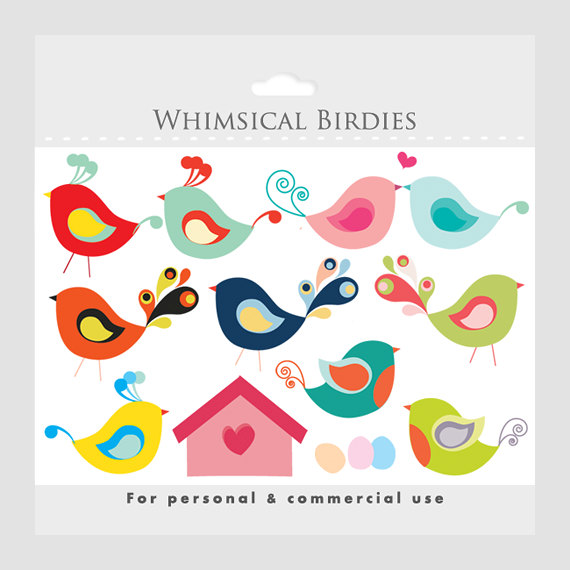 Bird Clipart   Whimsical Cute Birdies Birdhouse Eggs Sweet Birdy