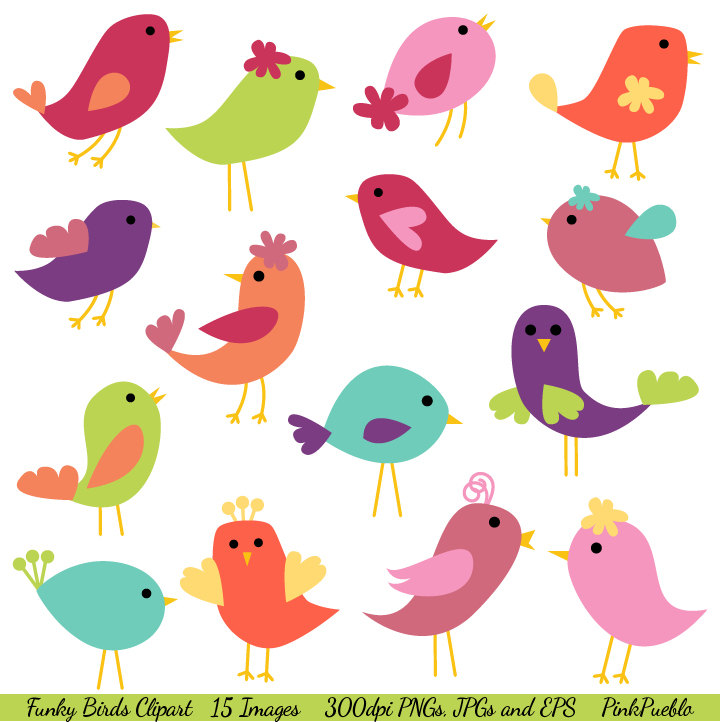 Birds Clip Art Birds Clipart Commercial Use By Pinkpueblo On Etsy