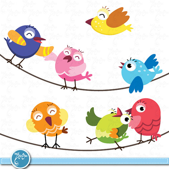 Birds Clip Art  Cute Baby Birds Birds Design Element Perfect For