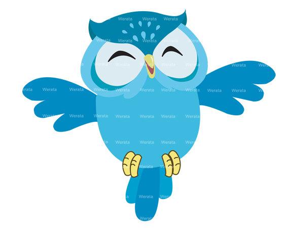 Blue Owl Clip Art Digital Clipart   Owl Graphics   Owl Digital Clip