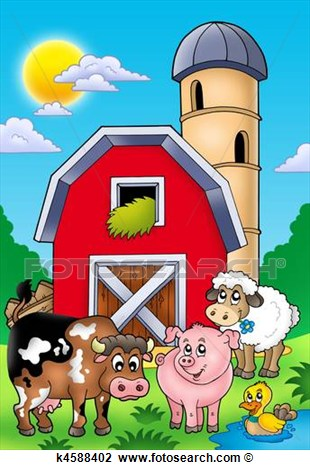 Clip Art   Big Red Barn With Farm Animals  Fotosearch   Search Clipart