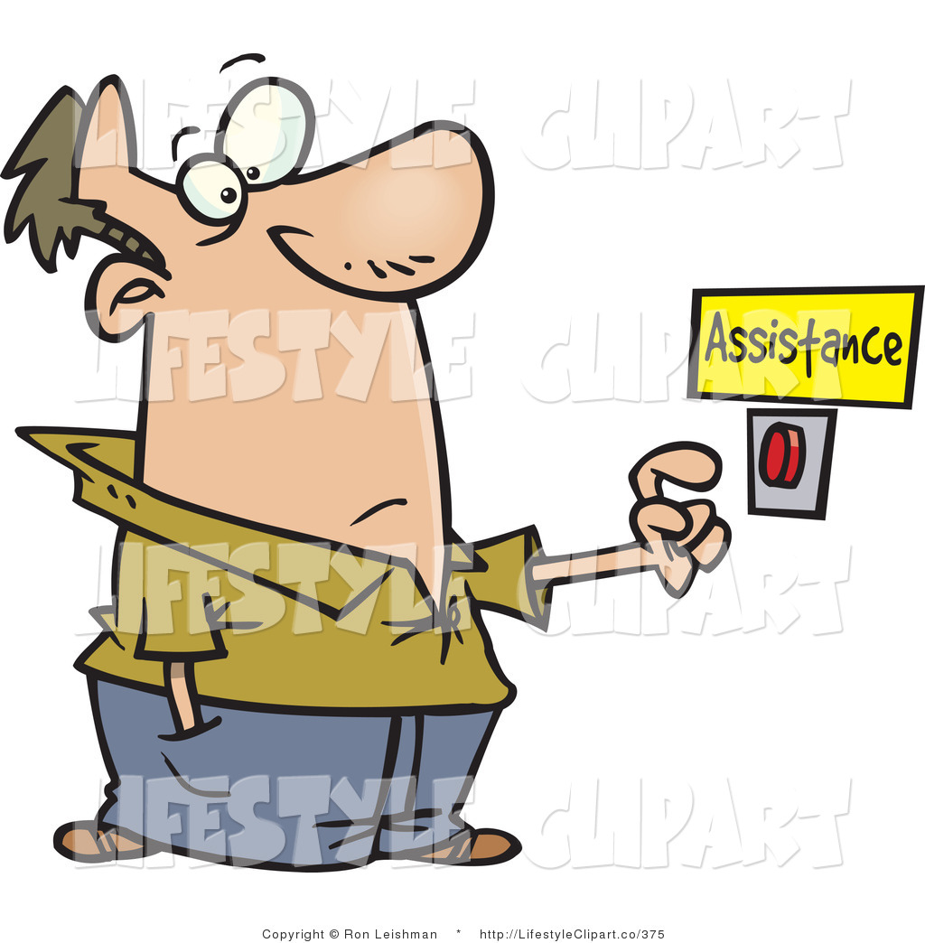 Clip Art Of A Man In Need Of Help About To Push A Customer Service