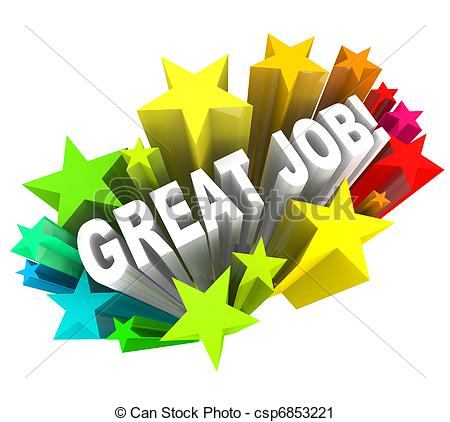 Clipart Of Great Job Words Praising A Successful Goal Accomplished
