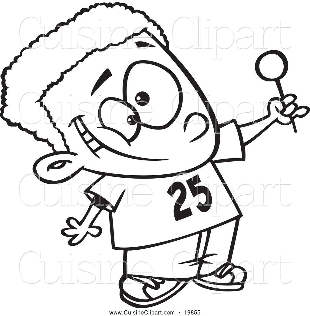 Cuisine Clipart Of A Black And White Outlined Happy Black Boy Holding