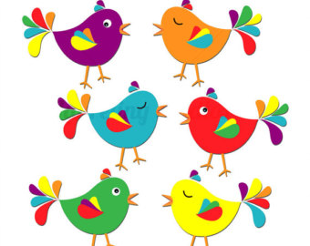 Cute Bird Clipart Digital Clip Ar T Bird Colorful Clipart Spring