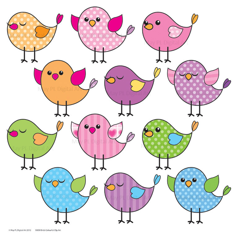 Cute Birds Clipart Clip Art Pink Blue Purple By Maypldigitalart