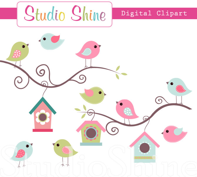 Digital Clipart Cute Birds Home Tweet Home Clip By Studioshine