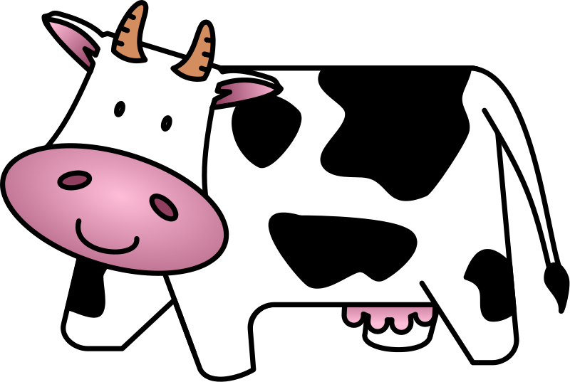 Free Cute   Friendly Cartoon Cow Clip Art